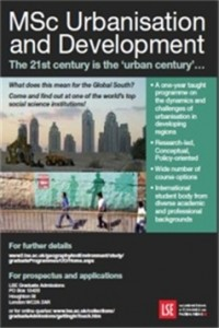 MSc Urbanisation and Development poster