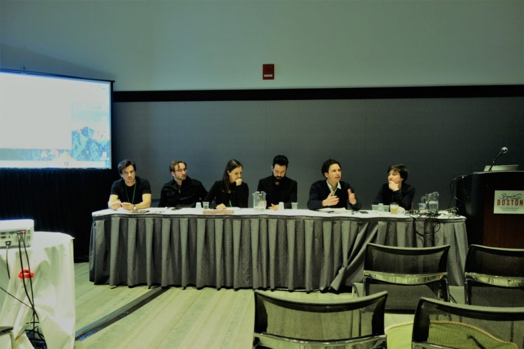 Mara Nogueira (far right) on the panel at AAG 2017 in Boston